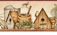 Watering Cans Birdhouses Wallpaper Border FAM65063b