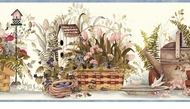 Watering Cans, Birdhouses, Garden Baskets Wallpaper Border FAM65081b