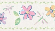 Dragonfly Flower Wallpaper Border