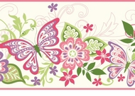 Butterflies & Blooms Wallpaper Border GIR94071b