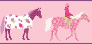 Funky Pink Horse Border