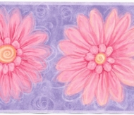 Pink Daisies/Purple Background Wallpaper Border