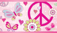 Peace Sign, Butterflies, Daisies Wallpaper Border 443b97620