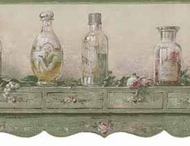 Green Cologne Potpourri Shelf Wallpaper Border