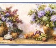 Flowers and Grapes Wallpaper Border