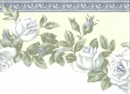 Soft Blue Roses On Yellow Wallpaper Border
