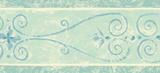 Architectural Scroll Wallpaper Border Aqua Blue