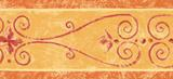 Architectural Scroll Wallpaper Border Orange/Gold