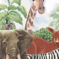 Wide Jungle Animals Wallpaper Border