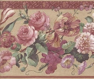 Satin Floral Wallpaper Border 51306030
