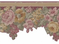 Scalloped Floral Satin Wallpaper Border 29419