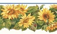 Sun Flowers Ladybug Wallpaper Border CP033193b
