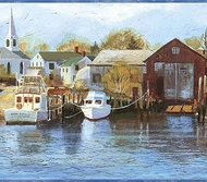 Northern Harbor Scenic Sea Wallpaper Border CW32121b