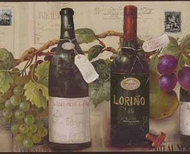 Wine Bottles & Grapevines Wallpaper Border 5813547