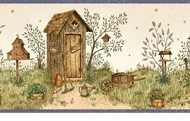 Backyard Country Outhouses Wallpaper Border FAM65021b