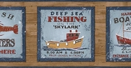 Deep Sea Fishing Signs Wallpaper Border PB58047b