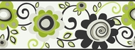 Black/Green Floral Scroll Wallpaper Border