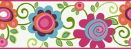 Bright Floral Scroll Wallpaper Border