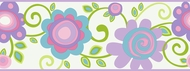 Pastel Floral Scroll Wallpaper Border