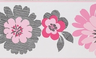 Floral Wallpaper Border - - White Background