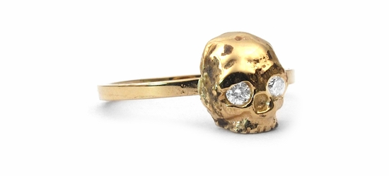 Dainty Skull Simple Band 18K Gold & Diamonds