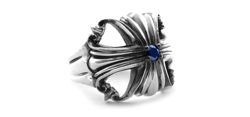 Morphine Ferry Ring with Lonely Sapphire