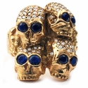 Don't Fuck Around Cardinal Ring 18K Yellow Gold Pave Diamonds Sapphire Eyes