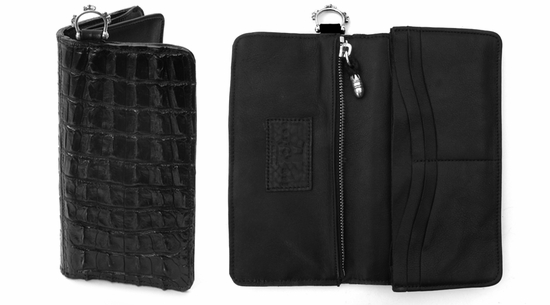 Mr. Sue Black Crocodile Wallet