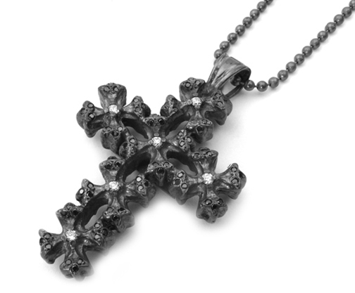 Mobsilver Small N.C. Cross with Diamond Centers Pave Black Diamond Tips