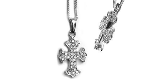 Small G.C. True Cross Pendant 18K Gold