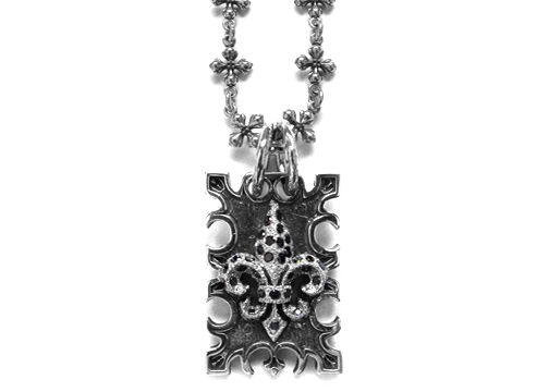 Ivy Mike Dainty Fleur Dog Tag Silver with Black Diamonds