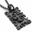 Ivy Mike Dainty Cemetery Now Dog Tag Pave Black Diamonds