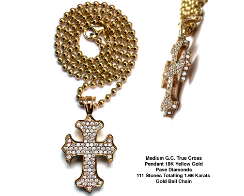 Medium G.C. True Cross Pendant 18K Gold Pave Diamonds