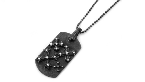 Large Dog Tag N.C. Crosses Full Set Diamonds