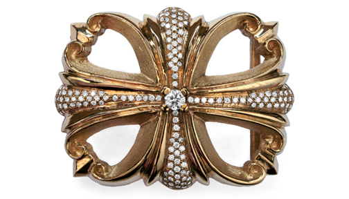Morphine Ferry Buckle Gold with Full Pave Diamonds