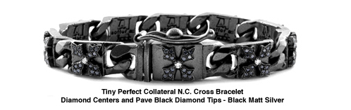 Tiny Perfect Collateral N.C. Cross Bracelet with White and Black Diamonds