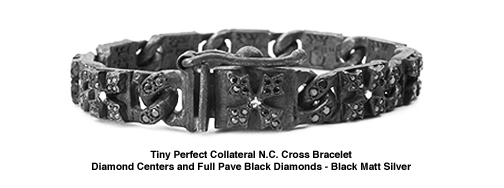 Tiny Perfect Collateral N.C. Cross Bracelet with Pave Black Diamond Tips and Links