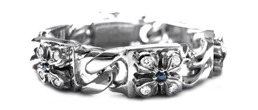 Perfect Collateral E.C. Cross Bracelet 18K White Gold, Sapphires
