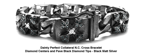 Dainty Perfect Collateral N.C. Cross Bracelet with White and Black Diamonds