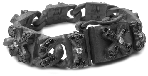 Perfect Collateral N.C. Cross Bracelet with Full Set Black Diamonds