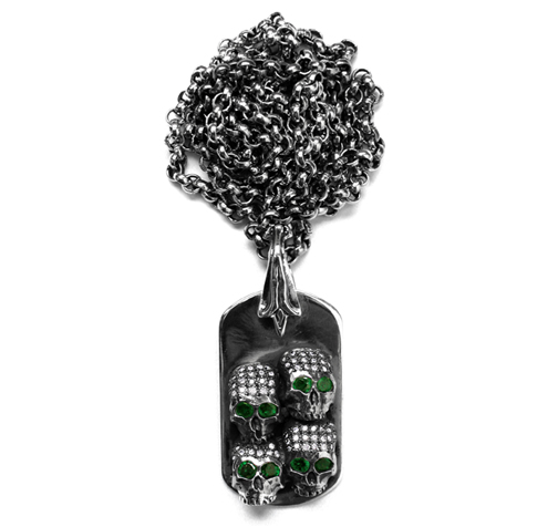 Dont Fuck Around Dog Tag with Pave Diamonds & Emerald Eyes