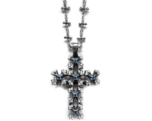 Mobsilver Small N.C. Cross with Sapphire Centers and Pave Diamond Tips