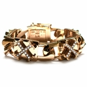 XL Perfect Collateral O.G. Cross Bracelet 18K Gold with Diamonds