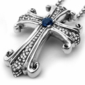 Medium Morphine Ferry True Cross Pendant Pave Diamonds Lonely Sapphire