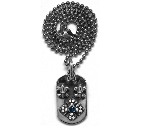 Small E.C. Dog Tag Tiny Fleurs with Sapphire Center and Diamond Tips