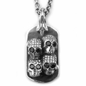 Dont Fuck Around Dog Tag with Pave Diamonds & Black Diamond Eyes