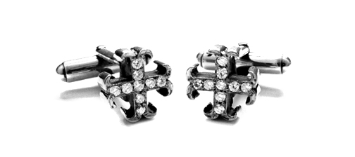 Small O.G. Badge Cufflinks with Diamonds