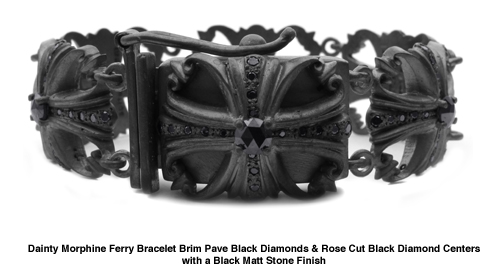 Dainty Morphine Ferry Bracelet with Black Diamonds