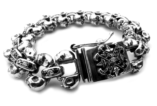 Chris James Catacomb Skulls Bracelet Black Diamond Eyes Black Diamond Links