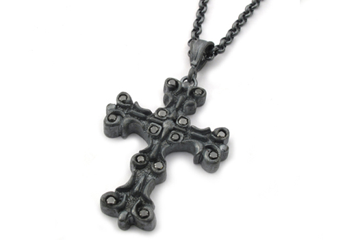 Medium Gambino Cross Pendant with Black Diamonds
